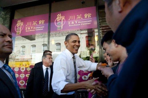 奥巴马去旧金山中国城买点心