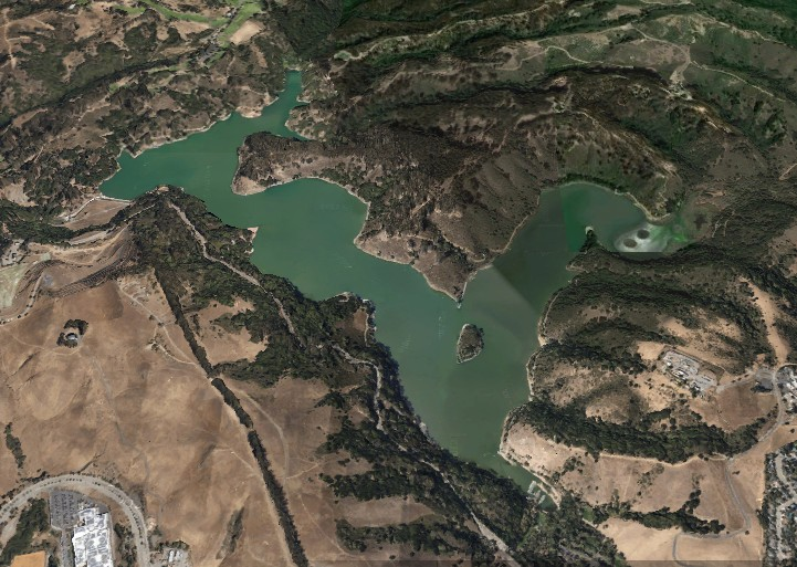 lake chabot 3d map from Google Earth
