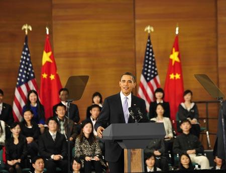 奥巴马访华上海科技馆