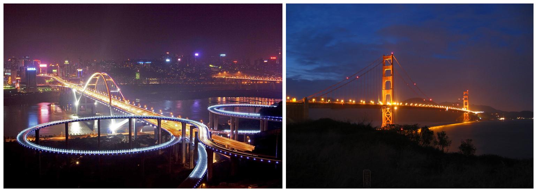 重庆长江大桥和旧金山金门大桥
