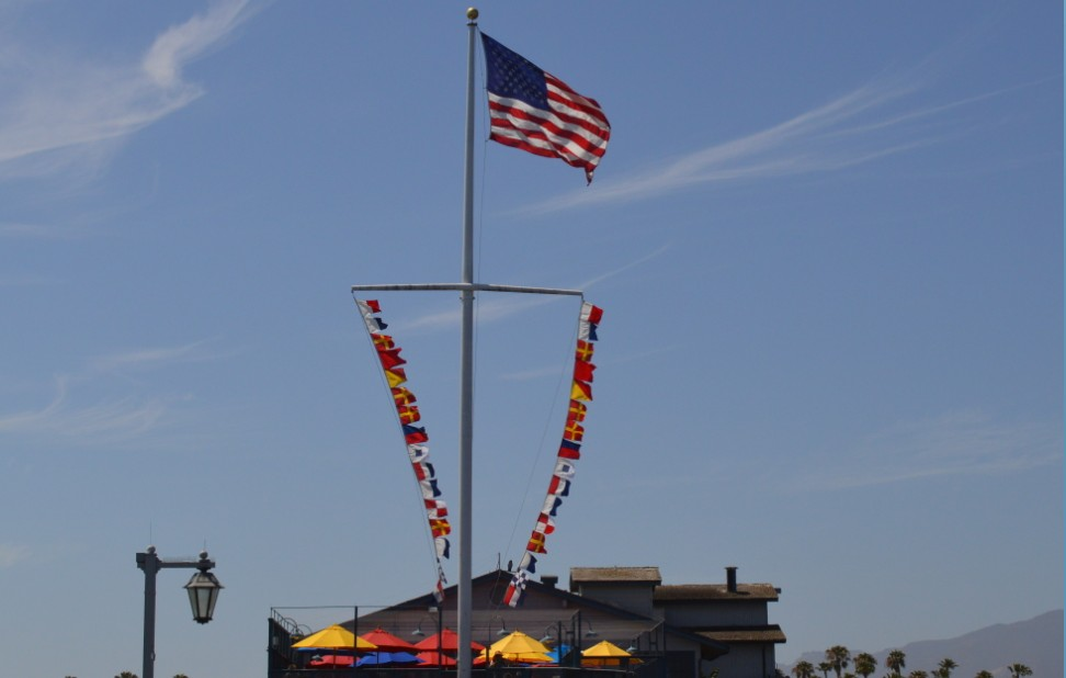 santa barbara stearns wharf_flags